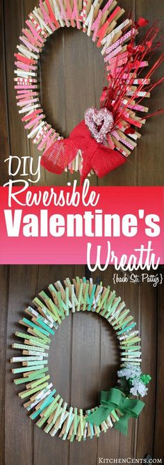 DIY Reversible Valentine's Wreath | KitchenCents.com A fun, festive Valentine's clothespin wreath {that's reversible for St. Patrick's} is a great DIY craft that will last from January to March.