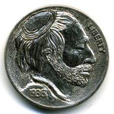Steve Ellsworth Hobo Nickel, Buffalo, Classic Style, Cactus, Coins, Carving, Scrapbook, Art, Succulents