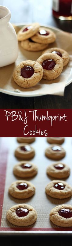 Turn that classic sandwich into an adorable treat both kids and adults love with this easy recipe for PB&J Thumbprint Cookies. (breakfast for kids meat) Ultimate Cookie Recipe, Best Cookie Recipes, Candy Recipes, Sweet Recipes, Dessert Recipes, Bar Recipes, Dessert Ideas, No Bake Cookies, Yummy Cookies