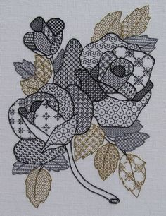 This is a Carol Algie Higgenbotham blackwork project I'm currently stitching. Her version is in black, gray and gold. I'm using dark red for the roses, dark green and gold for the leaves. Blackwork doesn't HAVE to be black. Motifs Blackwork, Blackwork Cross Stitch, Cross Stitch Charts, Cross Stitch Designs, Cross Stitching, Cross Stitch Patterns, Embroidery Leaf, Blackwork Embroidery, Cross Stitch Embroidery