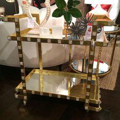 "Emporium Home Quartz Stud bar cart 33""W x 32""T x 18""D Description: Antiqued gold leaf with natural quartz stud detail. #hpmkt #hpmktss"