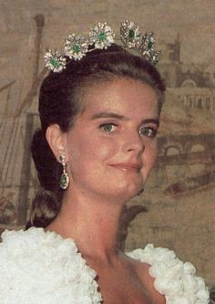 The Spanish branch of the Bavarian royals seem to have a liking for emerald floral tiaras.