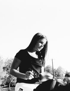 Priscilla Presley on horseback, signing autographs at Graceland, c. 1969.
