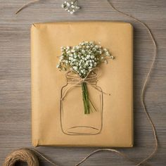 Gift wrapping ideas, kraft paper wrapping ideas, beautiful gift wrapping