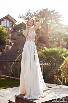 2015 Lace Applique Chiffon Prom Dresses Halter Beaded Crystals Short Side  Slit Backless Evening Gowns Summer 11108dcee578