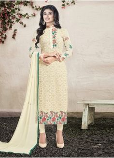 Awesome Off White Coloured  Georgette Semi-Stitched Designer Salwar Suit
