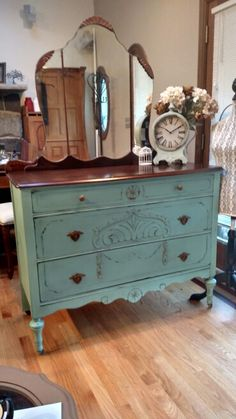 Vintage Bureau, painted with Heirloom Traditions Privilege. Sealed with dark wax and distressed.