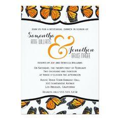 Woodland Wedding Rehearsal Dinner Monarch Butterfly Reheasal Dinner Invitation