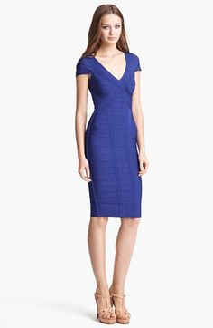 2d20437e55 Herve Leger Cap Sleeve V-Neck Bandage Dress available at  Nordstrom -  Beautiful Detail