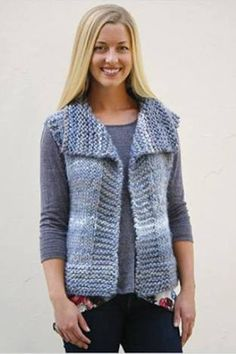"""Diy Crafts - Garter Yoke Vest Pattern (Knit) """"This post was discovered by Jul"""", """"Yarn and Patterns for Knitting and Crochet"""" Easy Knitting, Knitting For Beginners, Knitting Patterns Free, Knit Patterns, Knitting Yarn, Knit Vest Pattern, Universal Yarn, Swing Coats, Knitted Gloves"""
