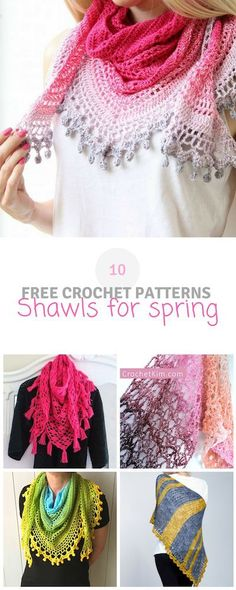 Here you can find a roundup of 10 #crochet #shawls for #spring. They're all free crochet patterns! Visit wilmade.com.