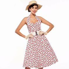 Women's Dress Vintage 1950s Rockabilly Party Cherry