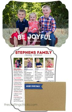 I love the idea of a little blurb about each member of the family on/in the Christmas card.