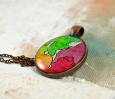 Feeling Groovy -- Neon Splash Watercolor Pendant by Sarah-Lambert Cook http://www.sarahlambertcook.com/collections/minima-series/products/feeling-groovy-neon-splash-watercolor-pendant-minima-series#