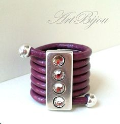 Leather Ring, Silver Ring, Purple Ring, Zamak Ring, Adjustable Ring, Modern Ring, Crystal Ring, Women Gift, Gift Her, Gift Idea, Present