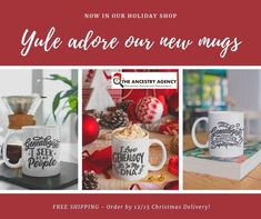 Genealogy inspired coffee mugs. Exclusive designs from The Ancestry Agency. Christmas Delivery, Yule, Ancestry, Genealogy, Gift Guide, Coffee Mugs, Tableware, Holiday, Gifts