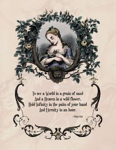 William Blake - Regency Poetry Historical Art - To See a World Poem - Century Style Rococo Art Century Victorian Vintage Print Poem Quotes, Words Quotes, Wise Words, Life Quotes, Sayings, Quotable Quotes, Victorian Poetry, Victorian Art, Gothic Art