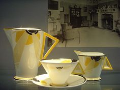 'Sunray' decoration designed by Eric Slater in 1930 for Shelley Potteries. Seen at the Geffrye Museum.