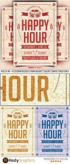 Happy Hour Flyer Template PSD. Download here: http://graphicriver.net/item/happy-hour-flyer/16325293?ref=ksioks