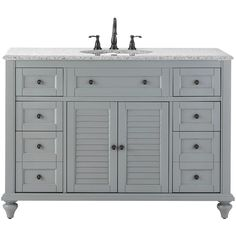 Home Decorators Collection Hamilton 49 in. Vanity in Grey with Granite Vanity Top in Grey with White Basin
