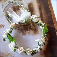 Flower Girl Floral Wreath.  Handmade with tulle, flowers, ribbon and floral balls. Green and ivory flower halo. by TutusChicOriginals on Etsy https://www.etsy.com/listing/181002383/flower-girl-floral-wreath-handmade-with