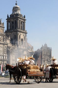 Celebrations to mark the anniversary of the start of the Mexican Revolution, in front of Metropolitana Cathedral in Zócalo square, the heart of Mexico City.