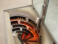 Spiral cellars with LED lighting.