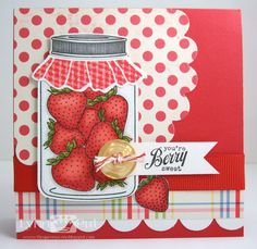 - You're Berry Sweet by justbehappy - Cards and Paper Crafts at Splitcoaststampers Pretty Cards, Cute Cards, Mason Jar Cards, Mason Jars, Friendship Cards, Cricut, Copics, Scrapbook Cards, Scrapbooking