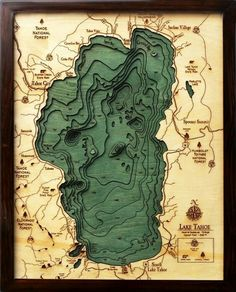 A laser cut version of our castle grounds. a bathymetric chart (the underwater equivalent of a topographic map) of Lake Tahoe. Laser cut out of wood x Lake Tahoe nautical chart art. Designed by Below The Boat Rpg Map, Gravure Laser, Planer Layout, Lake Art, Nautical Chart, Topographic Map, Illustration, Map Design, Grafik Design