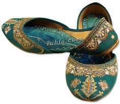Teal Khussa Shoes
