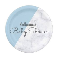 The easter bunny and easter eggs square shortbread cookie elegant pastel blue and white marble baby shower paper plate negle Gallery
