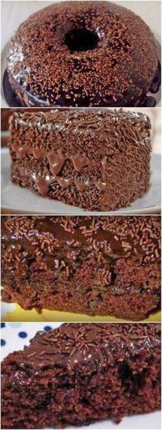 Bolo de Chocolate da Fran – Massa de Chocolate e Cobertura de Chocolate! Sweet Recipes, Cake Recipes, Dessert Recipes, Chocolate Recipes, Brazilian Chocolate Cake Recipe, Love Food, Cupcake Cakes, Food And Drink, Yummy Food