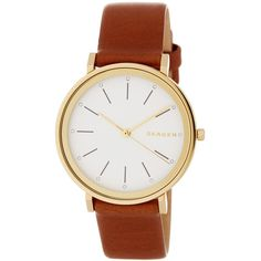 Skagen Women's Hald Quartz Watch (110 CAD) ❤ liked on Polyvore featuring jewelry, watches, water resistant watches, white jewelry, leather-strap watches, leather strap watches and white leather strap watches