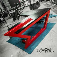 Image may contain: table Iron Furniture, Custom Made Furniture, Steel Furniture, Custom Desk, Office Table Design, Reception Desk Design, Industrial Design Furniture, Furniture Design, Metal Work Table