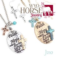 Wyo-Horse Jewelry - Faith Hope and Love Meddalion with Matching Earrings - Silver or Gold
