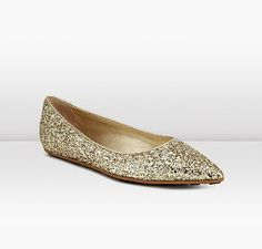 Jimmy Choo   Glenda   Coarse Glitter Fabric Pointy Toe Ballet Flats