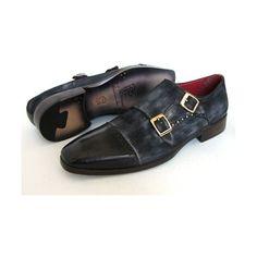 Paul Parkman Men's Captoe Double Monkstraps Navy Suede (ID#FK77W) (33.900 RUB) ❤ liked on Polyvore featuring men's fashion, men's shoes and men's loafers
