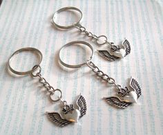 Winged heart keychains