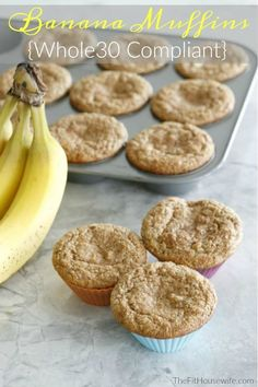 Grain Free Sugar Free Whole 30 Banana Muffins. Enjoy these healthy muffins any time of the day. A great snack for your kid's lunch kit. Paleo, Dairy, Free, Grain Free, Sugar Free, Nut Free, Gluten Free, Soy Free.