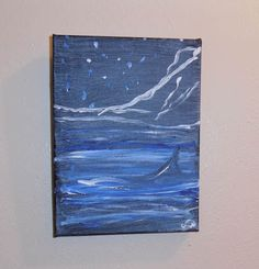 Surreal abstract animal art painting acrylic blue grey white G Wachtel | KanweieneaKreations - Painting on ArtFire