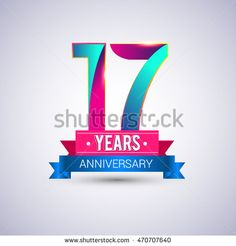 17 years anniversary logo, blue and red colored vector design