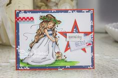 Daydreaming to Create, Whimsy Stamps, Elisabeth Bell 'Wedding Joy', card, Memorial day card, July 4th card, red, white and blue, Copic coloring