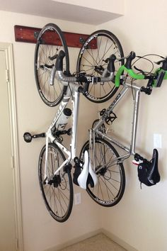 esp with some interesting designs. Wall Mounted Bike Storage, Bicycle Storage Garage, Wall Mount Bike Rack, Garage Bike, Bike Shed, Garage Storage, Wall Storage, Indoor Bike Rack, Bike Storage Solutions