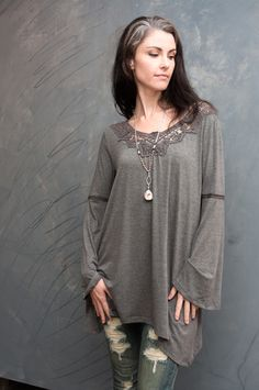 f659ae6243 Andree by Unit Bell Sleeve Tunic with Back Crochet Detail
