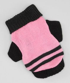 Take a look at this Pink & Black Stripe Dog Sweater by Let It Snow: Pet Apparel on #zulily today!