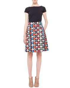 -5KT9 Akris punto Scoop-Back Jersey Top & Box-Pleated Record-Print Skirt