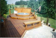 Custom Deck with Hot tub with privacy screen/wall