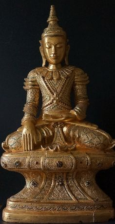 Spectacular large Century Tai Yai Art Shan Wood Burmese Buddha Statue seated on thin waisted high pedestal highly decorated with glass mosiacs & gilded Gautama Buddha, Buddha Zen, Buddha Buddhism, Buddhist Art, Burmese, Religious Art, Deities, Asian Art, Temples