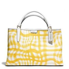 Coach The East/West Town Tote In Wavy Gingham Canvas