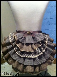 Grey Cheeky Tie on Scrap Bustle Skirt  by ClockworkCouture